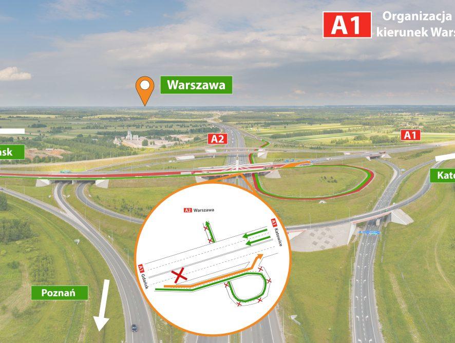 Autostrada A1/A2: kolejne roboty drogowej. Gdzie pojawią się utrudnienia?