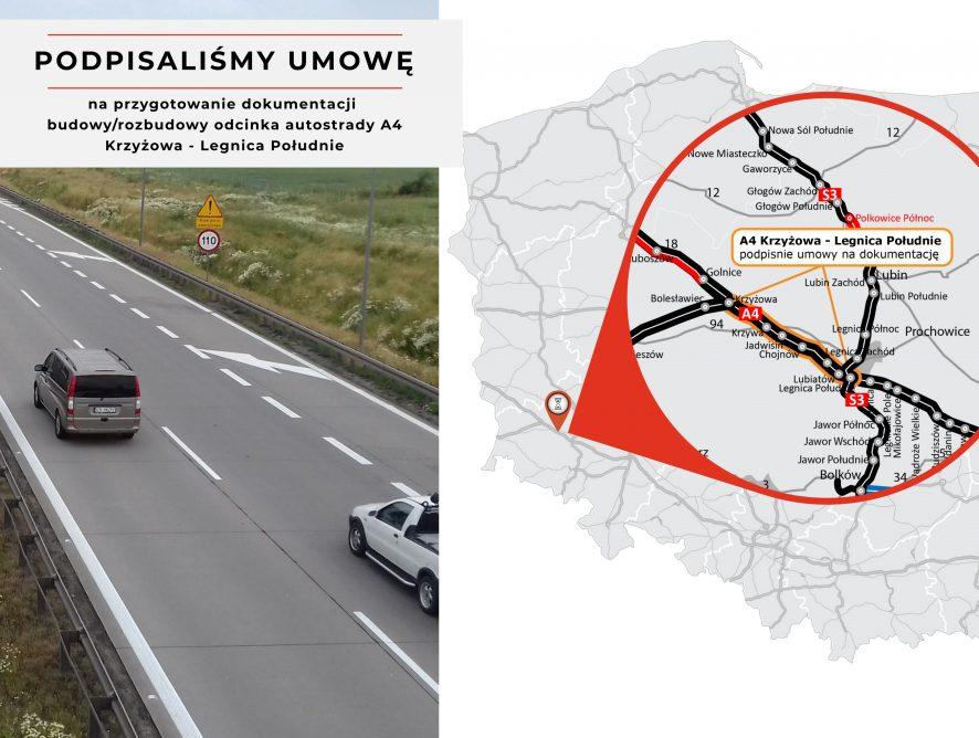 Autostrada A4 na odcinku Krzyżowa-Legnica Południe zostanie rozbudowana!