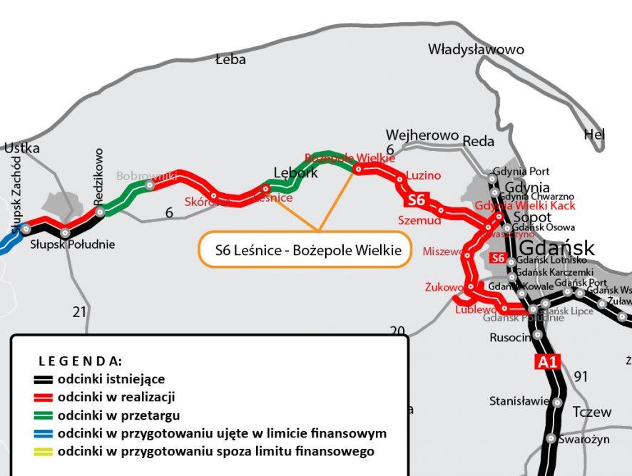 GDDKiA: już niedługo zawarcie umowy na projekt i budowę S6 Leśnice-Bożepole Wielkie